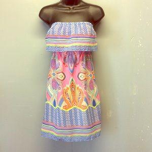 XS Red Camel Multi Color Strapless Mini Dress CUTE